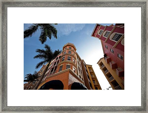 Colorful Condominiums Wide Angle Framed Print