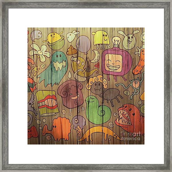 Colorful Doodle Illustrations Set With Framed Print
