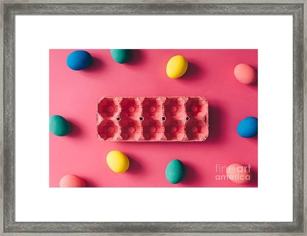 Colorful Easter Eggs On Pink Background Framed Print