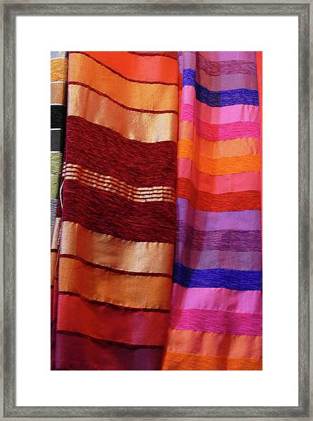 Colorful Fabrics In The Medina Market  Framed Print
