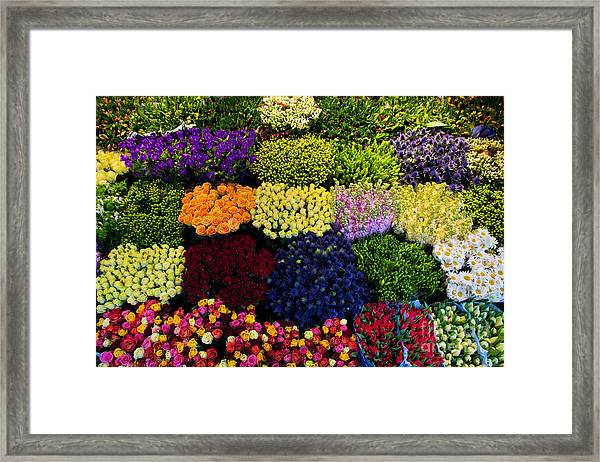 Colorful Flowers In A Florists Framed Print