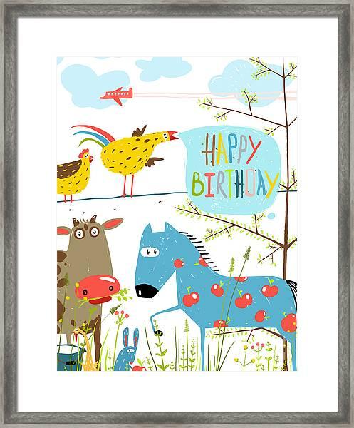 Colorful Funny Cartoon Farm Domestic Framed Print by Popmarleo