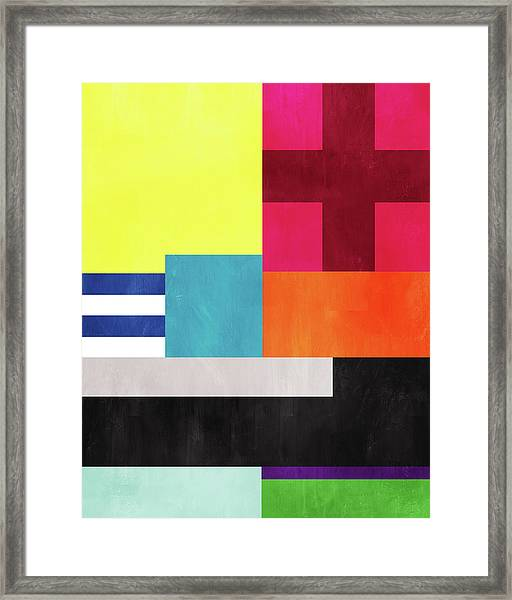 Colorful Geometric Abstract 2- Art By Linda Woods Framed Print