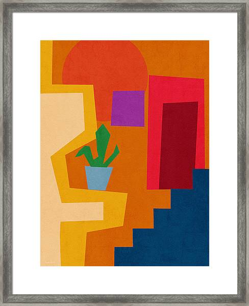 Colorful Geometric House 1- Art By Linda Woods Framed Print