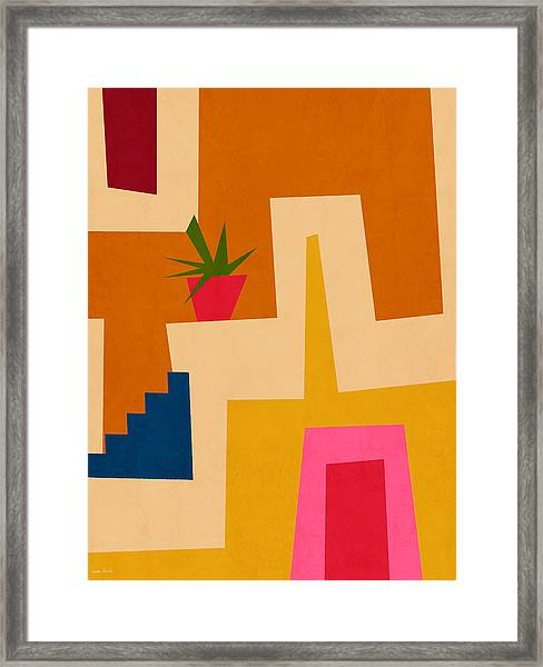 Colorful Geometric House 2- Art By Linda Woods Framed Print