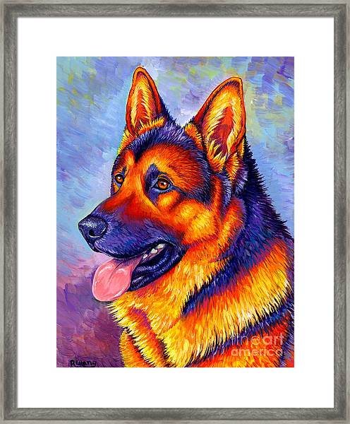 Colorful German Shepherd Dog Framed Print