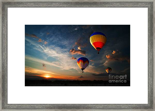 Colorful Hot Air Balloon Is Flying At Framed Print