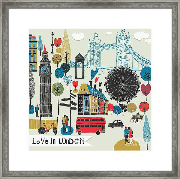 Colorful Illustration Of London Framed Print