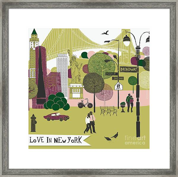 Colorful Illustration Of New York Framed Print by Lavandaart