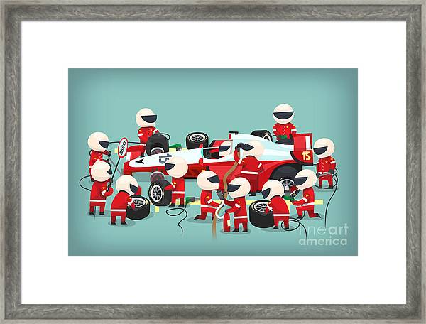 Colorful Illustration With Pit Stop Framed Print