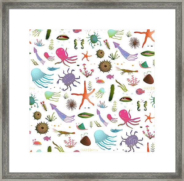 Colorful Kids Cartoon Sea Life Seamless Framed Print