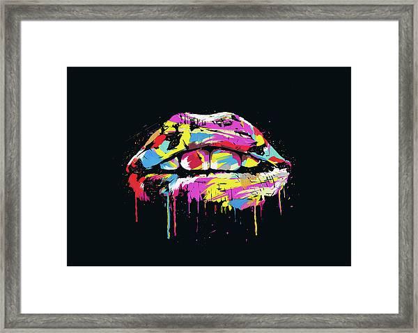 Colorful Lips Framed Print