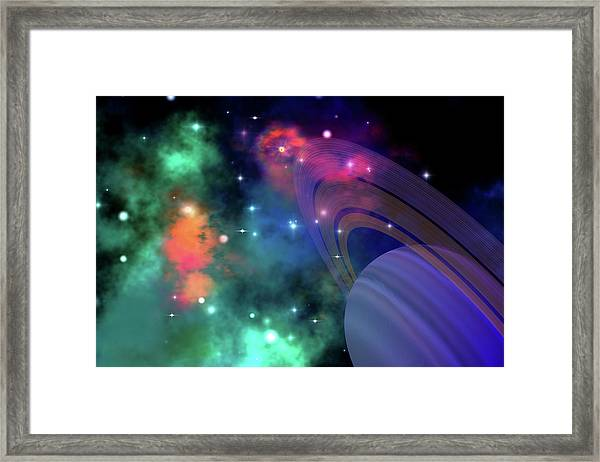 Colorful Nebula Near A Ringed Planet Framed Print