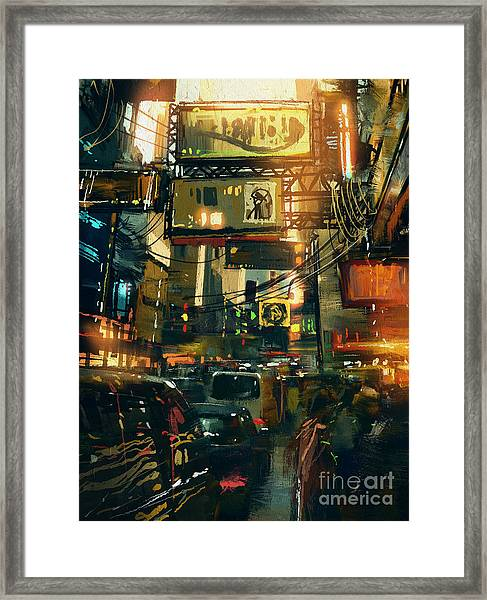 Colorful Painting Of Shopping Street In Framed Print by Tithi Luadthong