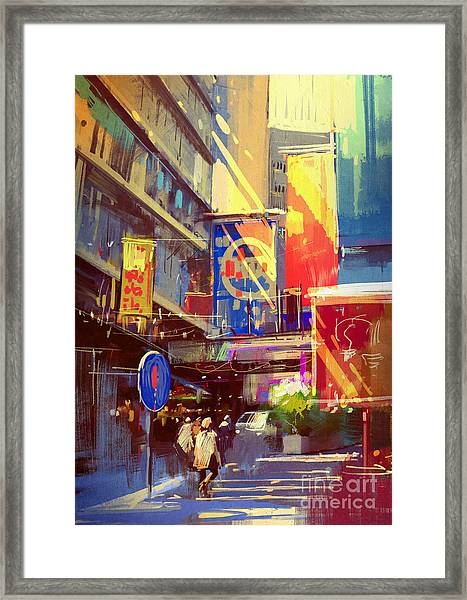 Colorful Painting Of Urban Framed Print by Tithi Luadthong