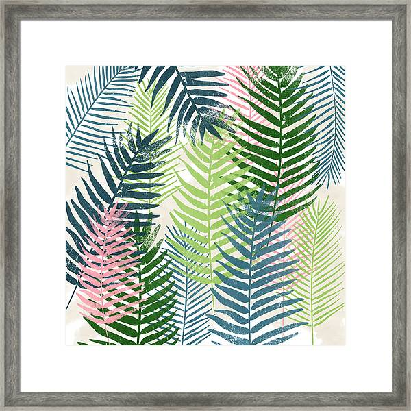 Colorful Palm Leaves 2- Art By Linda Woods Framed Print
