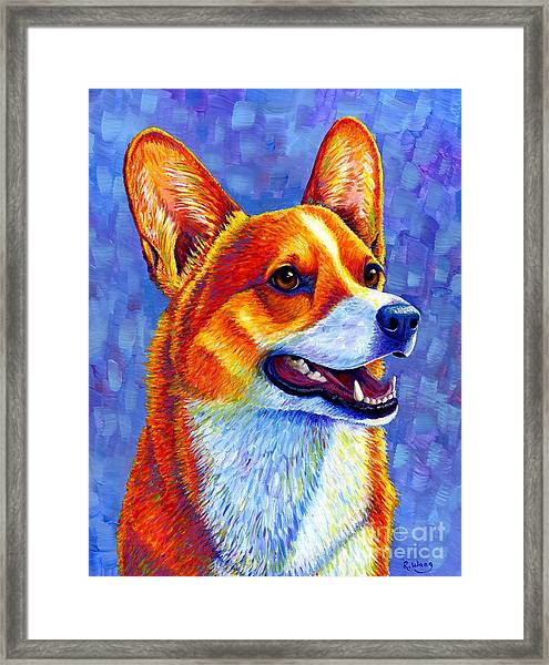 Colorful Pembroke Welsh Corgi Dog Framed Print
