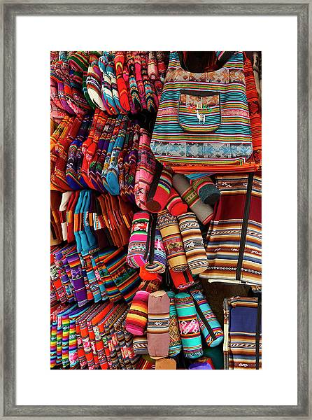 Colorful Pencil Cases, Bags, And Oven Framed Print