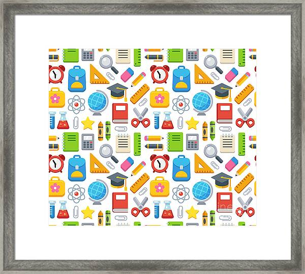 Colorful School Seamless Pattern Framed Print