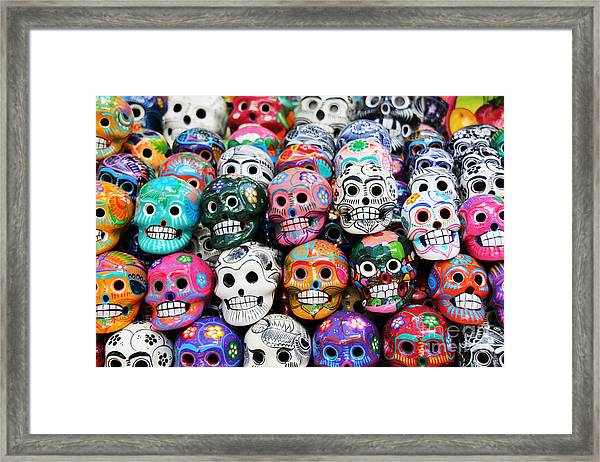 Colorful Skull From Mexican Tradition Framed Print