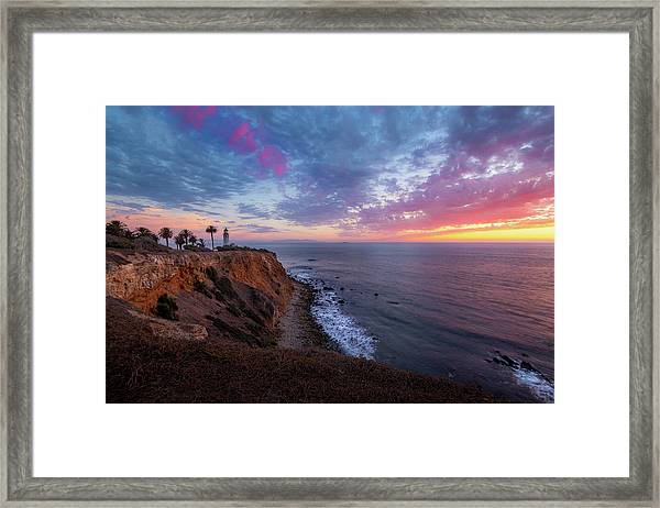 Colorful Sky After Sunset At Point Vicente Lighthouse Framed Print