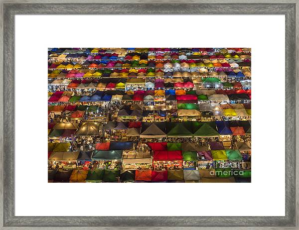 Colorful Street Market From Above Framed Print by Duke.of.arch