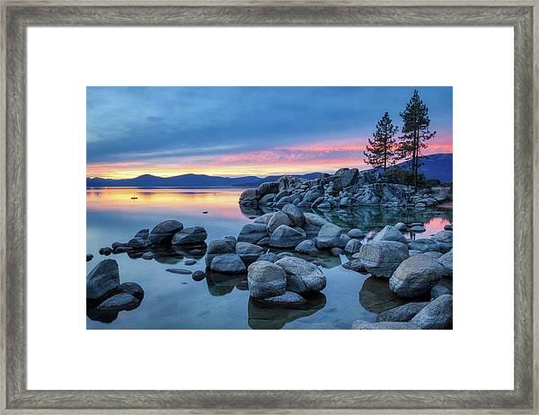 Colorful Sunset At Sand Harbor Framed Print