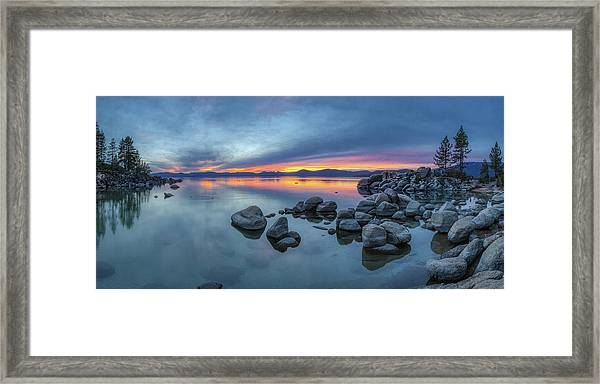 Colorful Sunset At Sand Harbor Panorama Framed Print