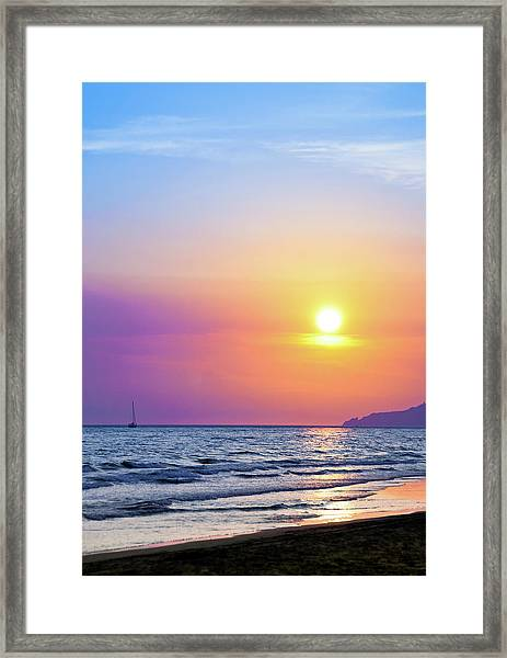 Colorful Sunset Over The Sea Framed Print