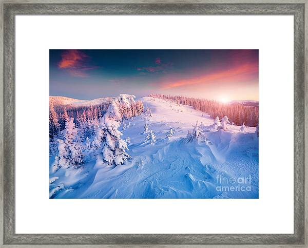 Colorful Winter Sunrise In The Framed Print