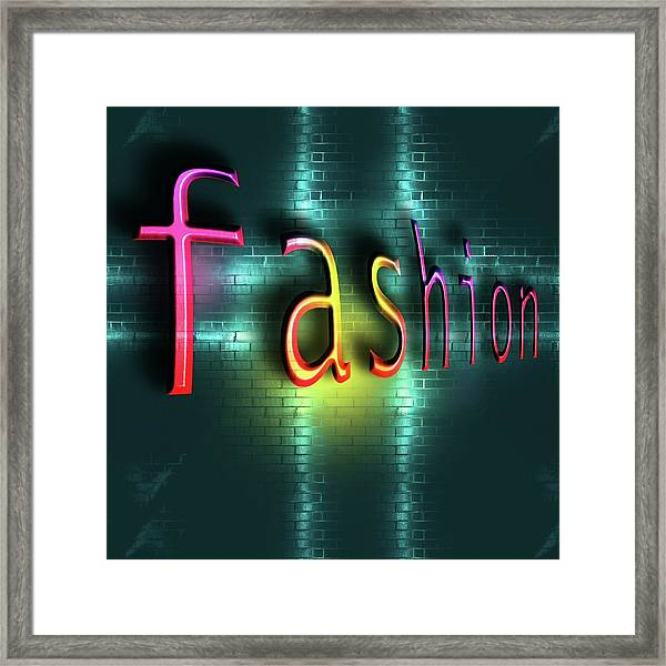 Colorful Word Fashion On Blue Reflecting Metallic Background. Framed Print