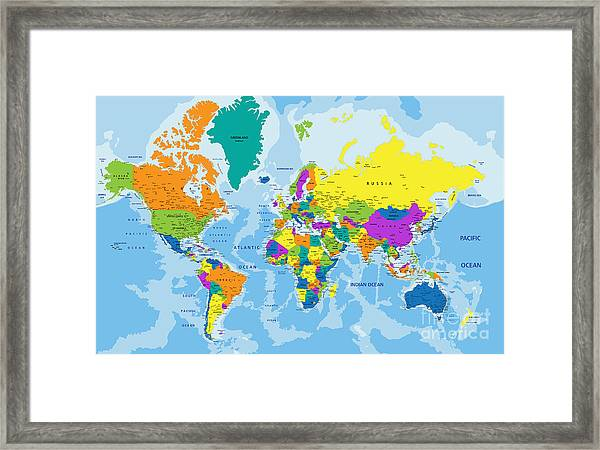 Colorful World Political Map With Framed Print