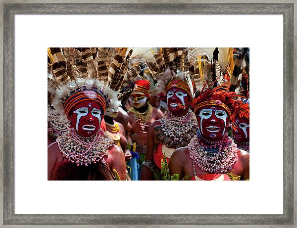 Colourfully Dressed And Face Painted Framed Print by Michael Runkel / Robertharding