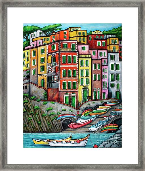 Colours Of Riomaggiore Cinque Terre Framed Print