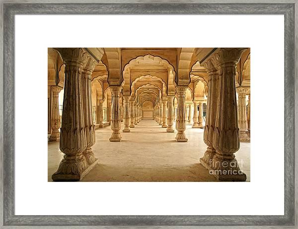 Columned Hall Of Amber Fort. Jaipur Framed Print