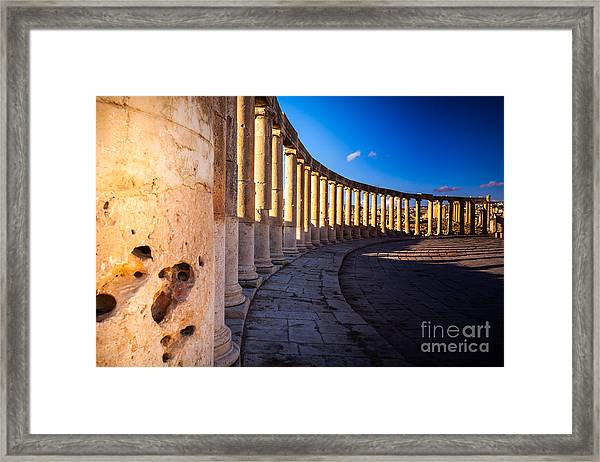 Columns  In Ancient Ruins In The Framed Print