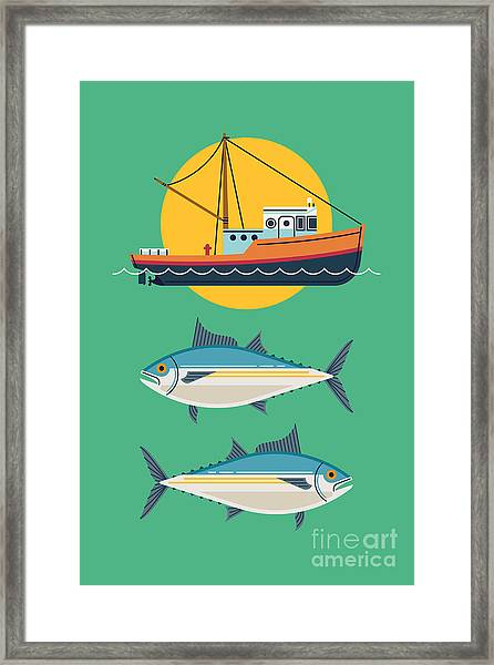 Commercial Fishery Concept Layout. Tuna Framed Print