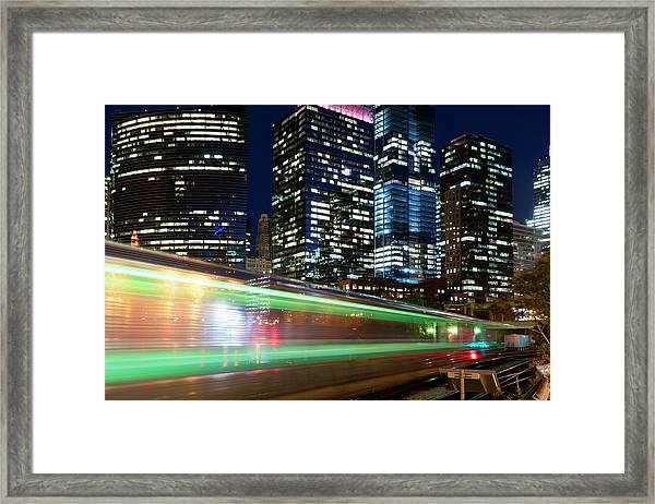 Commuter Train In Downtown Chicago Framed Print