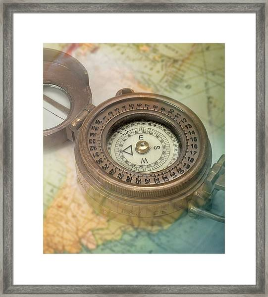 Compass With Transparent Map Framed Print