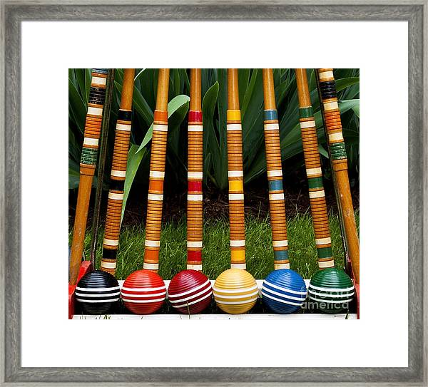 Complete Set Of Croquet Mallets And Framed Print
