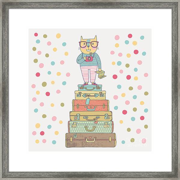 Concept Hipster Cat With Camera In Framed Print