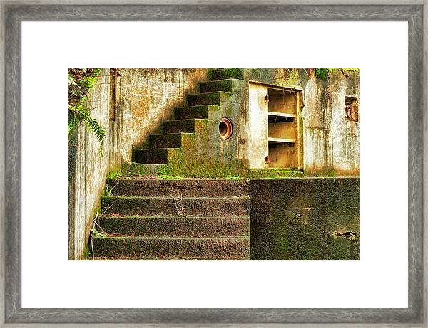 Framed Print featuring the photograph Concrete Weathered Stairway by Dee Browning