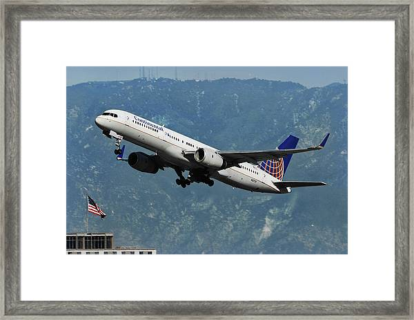 Continental Airlines And American Flag Framed Print