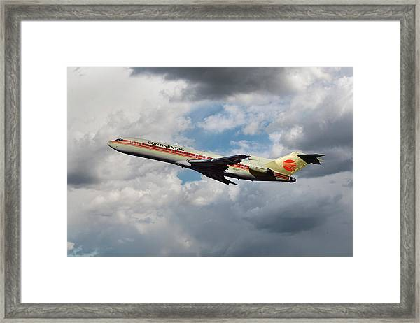 Continental Airlines Boeing 727 Takeoff At Lax Framed Print