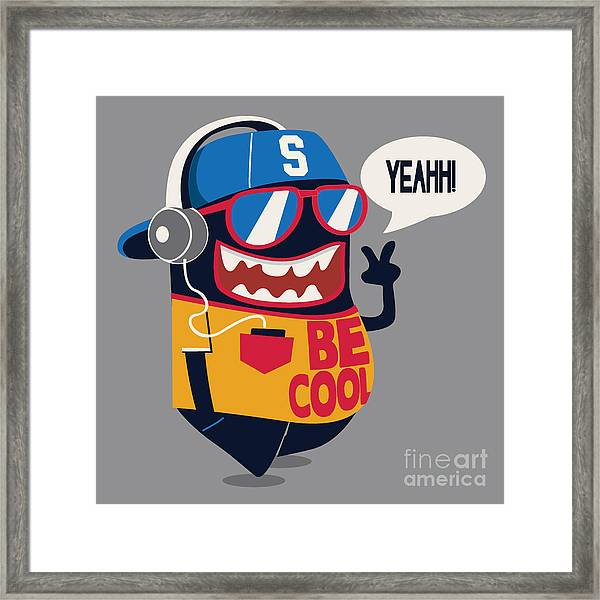 Cool Monster Graphic Framed Print by Braingraph