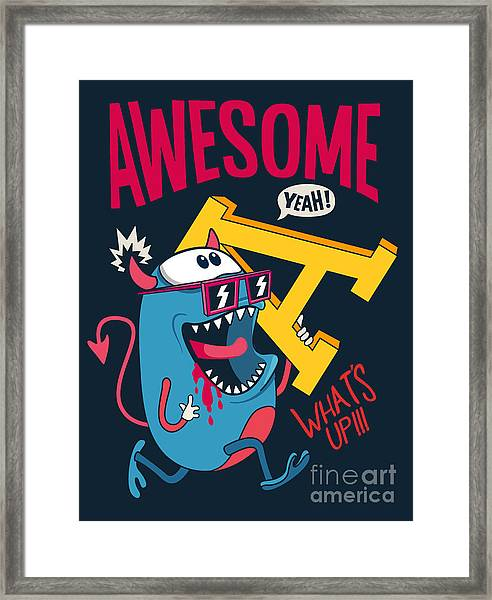 Cool Monster Vector Character Design Framed Print