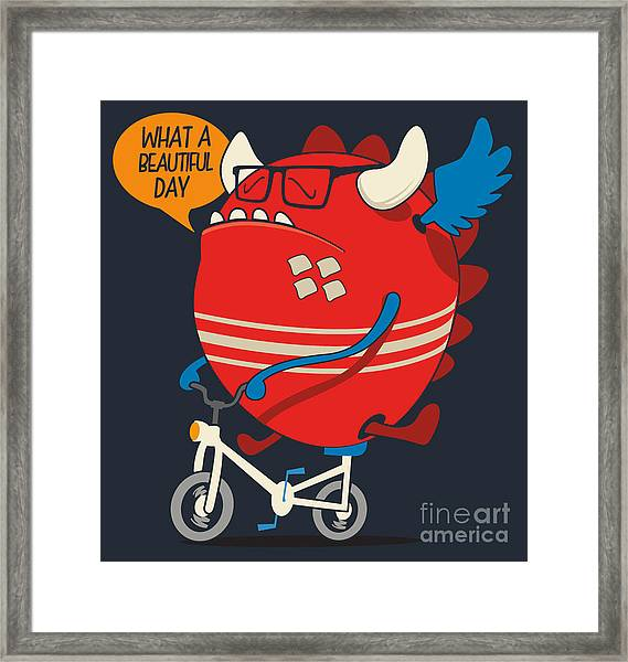 Cool Monster Vector Design Framed Print