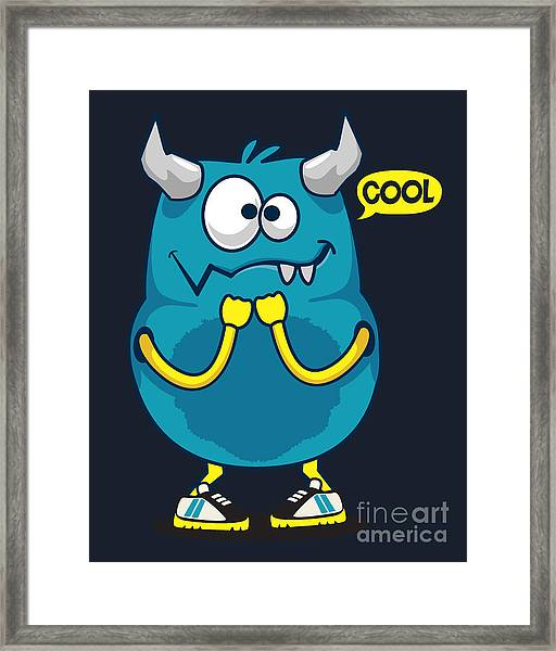 Cool Monster, Yeti, Alien Vector Design Framed Print