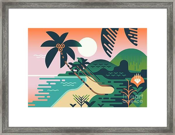 Cool Vector Summer Vacation Exotic Framed Print