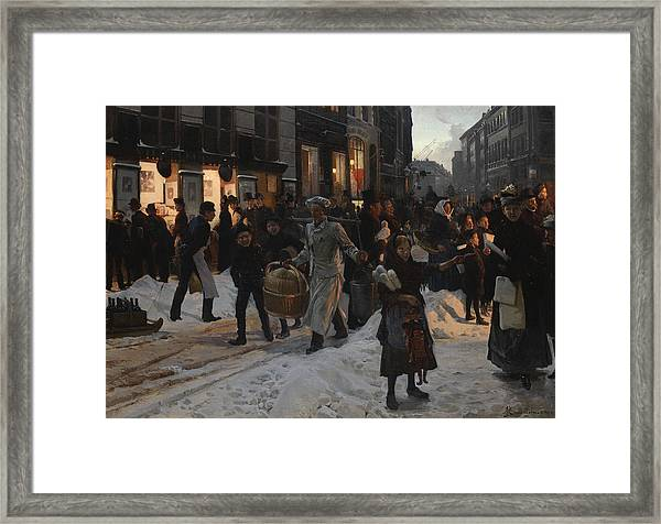Copenhagen, Ostergade At Christmas Framed Print
